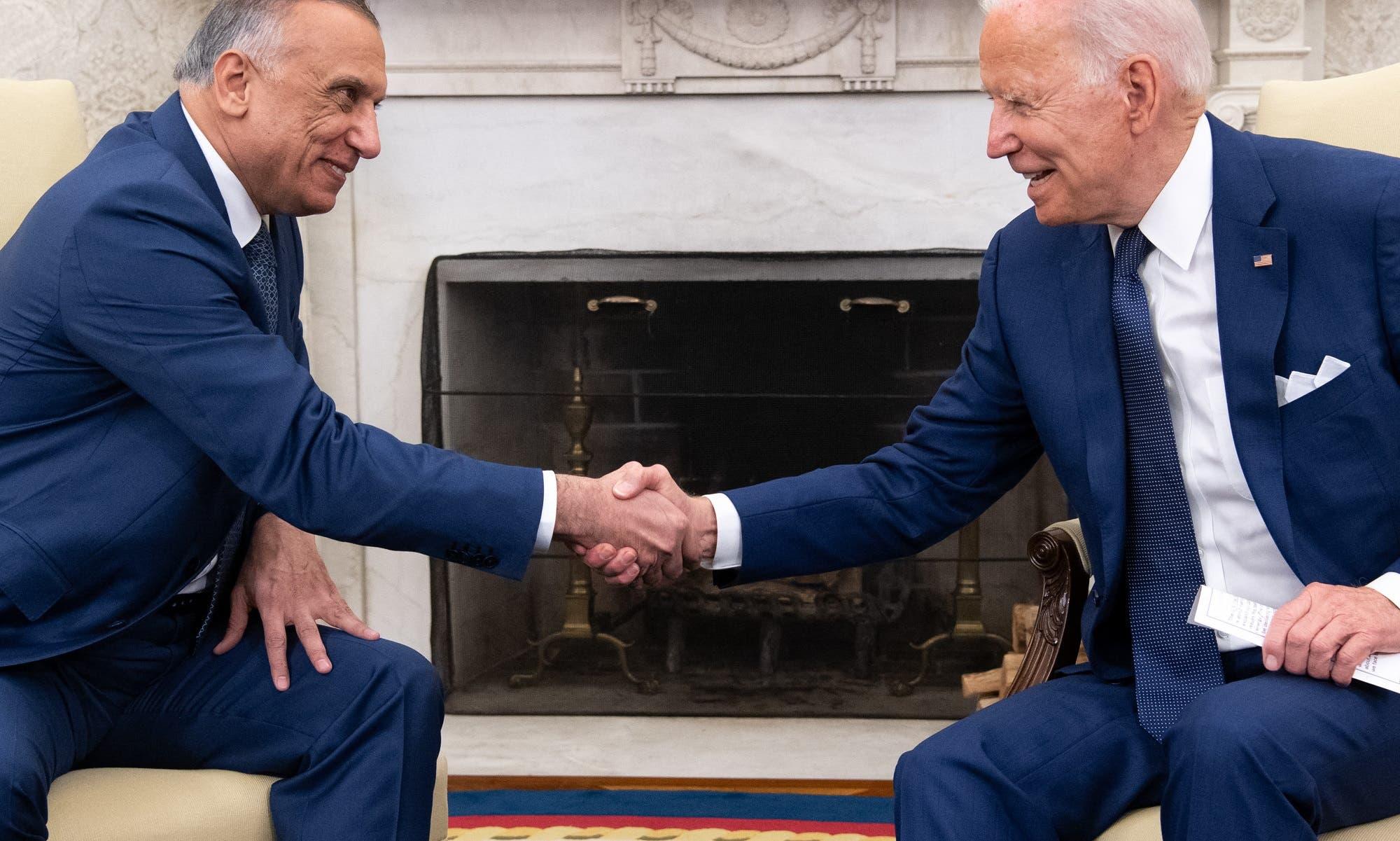 بايدن والكاظمي في البيت الأبيض يوم 26 يوليو 2021 (فرانس برس)