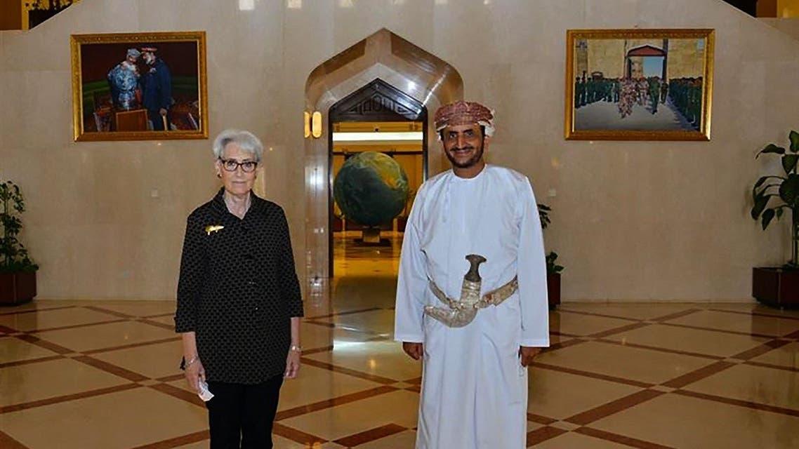Omani Deputy Foreign Minister Khalifa Al Harthy receiving US Deputy Secretary of State Wendy Sherman in Muscat, on July 27, 2021. (AFP)