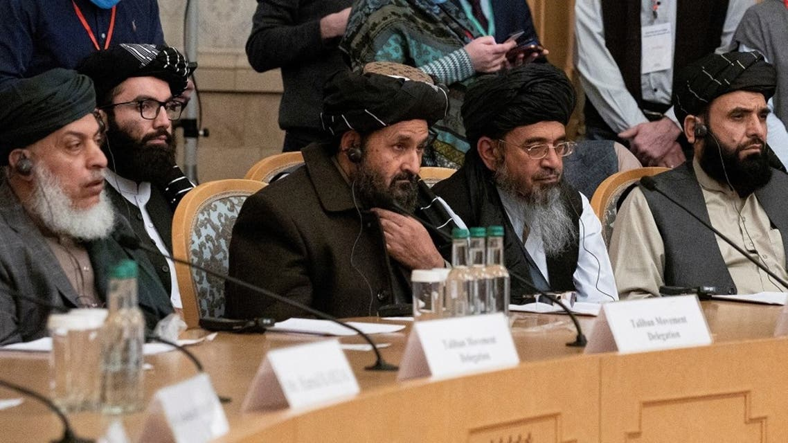 Mullah Abdul Ghani Baradar, the Taliban's deputy leader and negotiator, and other delegation members attend the Afghan peace conference in Moscow, Russia, on March 18, 2021. (Reuters)
