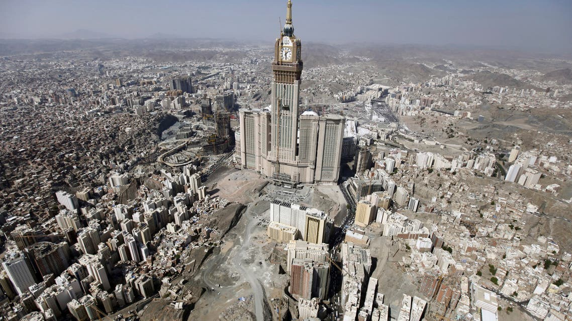 An aerial view shows the four-faced Mecca Clock Tower on the second day of Eid al-Adha in the holy city of Mecca October 27, 2012. Muslims around the world celebrate Eid al-Adha to mark the end of the Haj by slaughtering sheep, goats, cows and camels to commemorate Prophet Abraham's willingness to sacrifice his son Ismail on God's command. (Reuters)