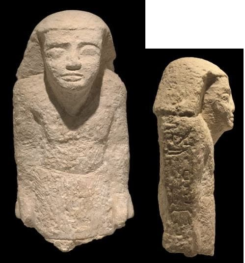 In the pictures … An ancient Egyptian statue has been recovered from Holland