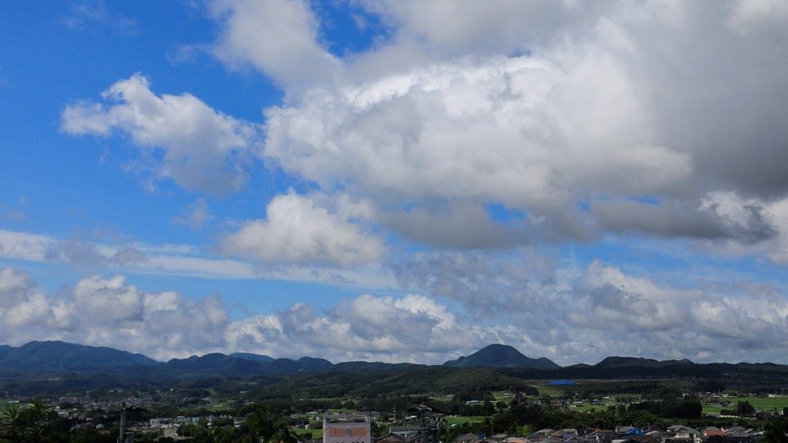 A general view of clouds and the city before the expected storm during the Tokyo 2020 Olympic Games, in Sendai, Miyagi prefecture, Japan, on July 27, 2021. (Reuters)
