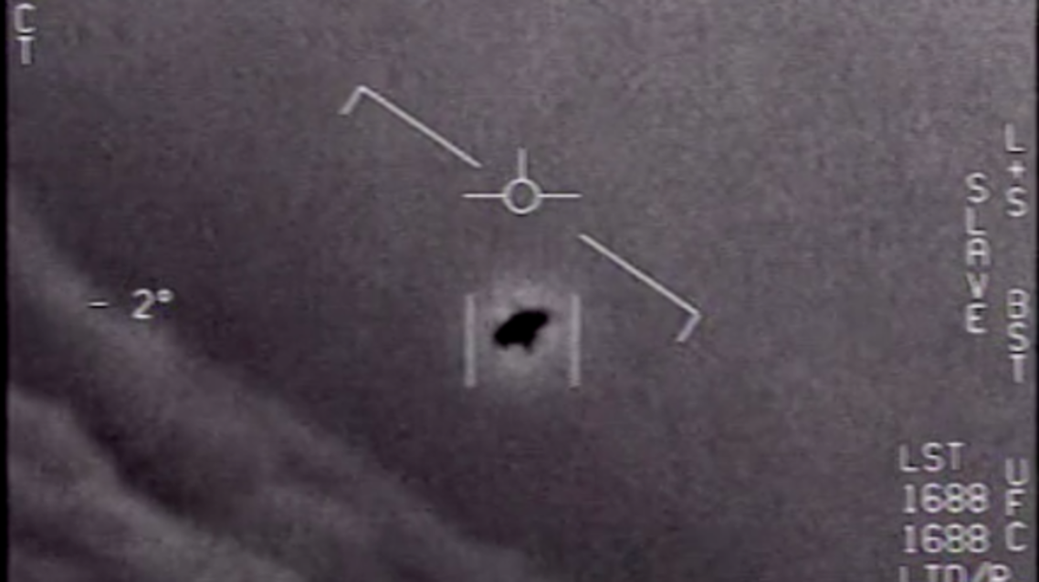 Still from a video released by the U.S. Department of Defense showing an encounter between a Navy F/A-18 Super Hornet and an unknown object. (US Department of Defense)