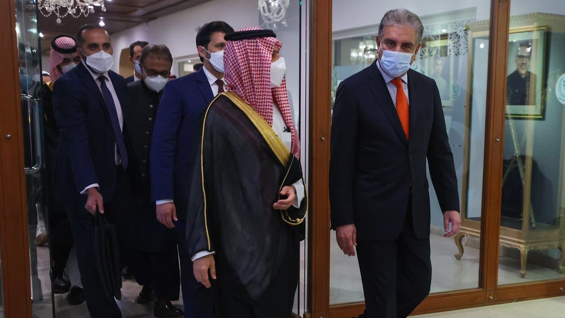 Saudi Arabia's Foreign Minsiter Prince Faisal bin Farhan with his Pakistani counterpart Shah Mehmood Qureshi in Islamabad. (Twitter)