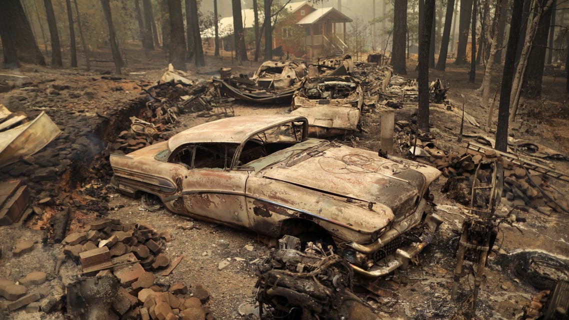 Vehicles destroyed by Dixie Fire are seen in Indian Falls, California, US, July 26, 2021. (Reuters)