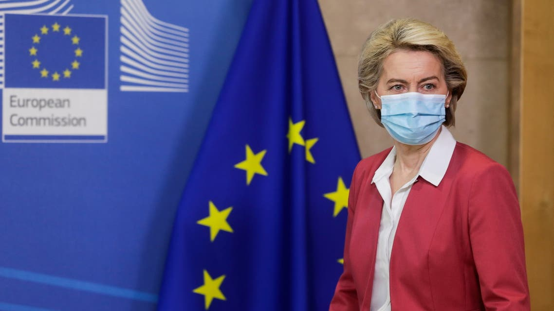 European Commission President Ursula von der Leyen arrives to deliver a statement on the vaccine strategy against the coronavirus disease (COVID-19) outbreak in Europe, in Brussels, Belgium July 27, 2021. Stephanie Lecocq/Pool via REUTERS