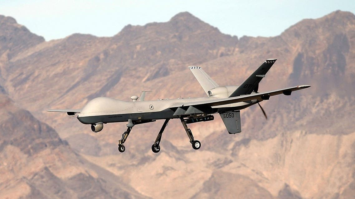 In this file photo taken on November 17, 2015, an MQ-9 Reaper remotely piloted aircraft (RPA) flies by during a training mission at Creech Air Force Base in Indian Springs, Nevada. (AFP)