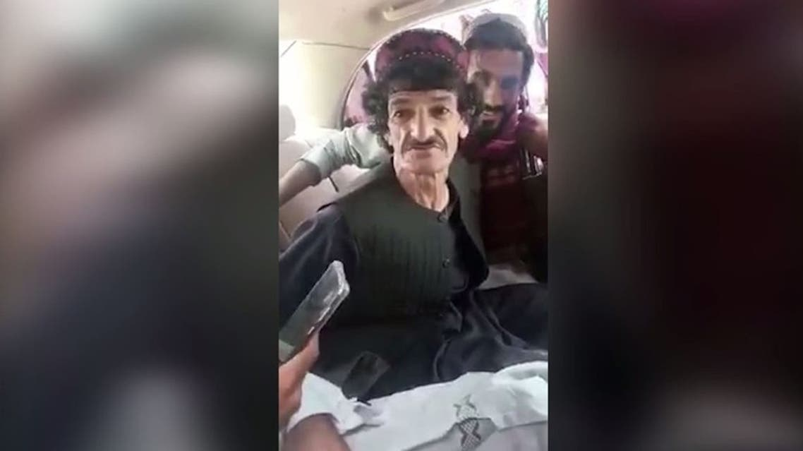 Afghan comedian Khasha Jawan in a vehicle following his abduction by Taliban militants. (Twitter)