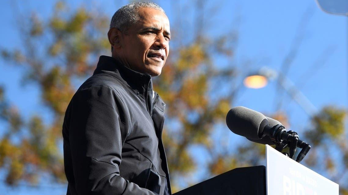 Former President Barack Obama addresses voters , in Atlanta, Georgia, US, on November 2, 2020. (Reuters)