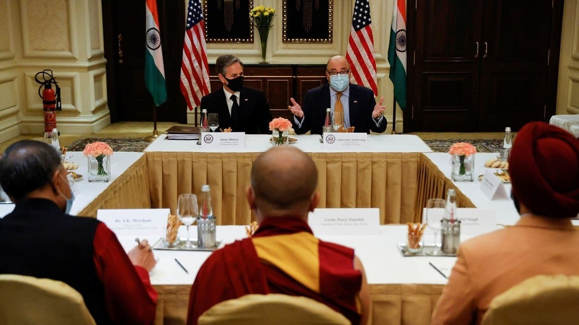 US Secretary of State Antony Blinken and US Ambassador to India Atul Keshap deliver remarks to civil society organization representatives in a meeting room at the Leela Palace Hotel in New Delhi, India, on July 28, 2021.  (Reuters)
