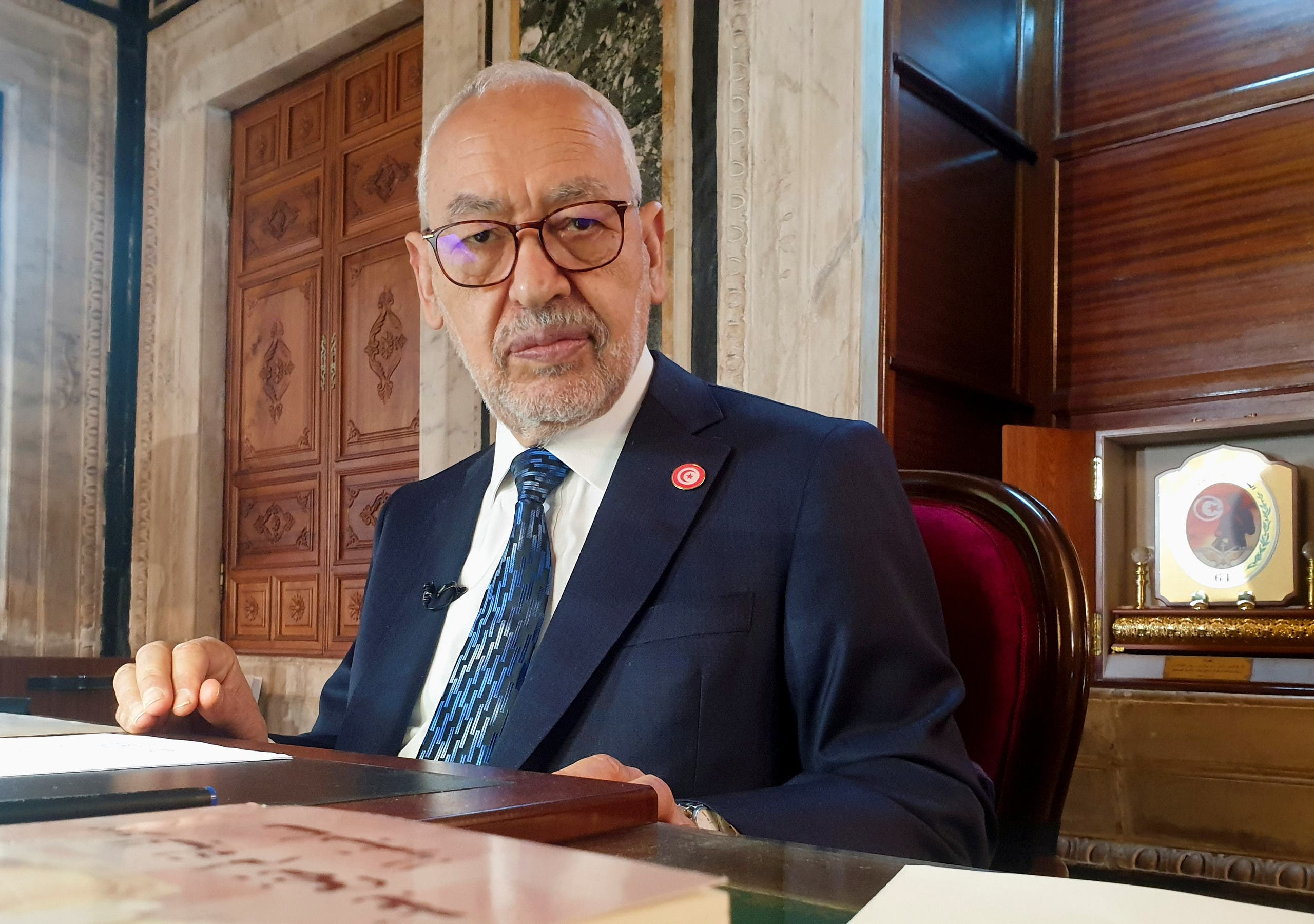 Parliament Speaker Rached Ghannouchi, head of the  Islamist Ennahda, poses during an interview with Reuters in his office, in Tunis, Tunisia, March 9, 2021. Picture taken March 9, 2021. (Reuters)
