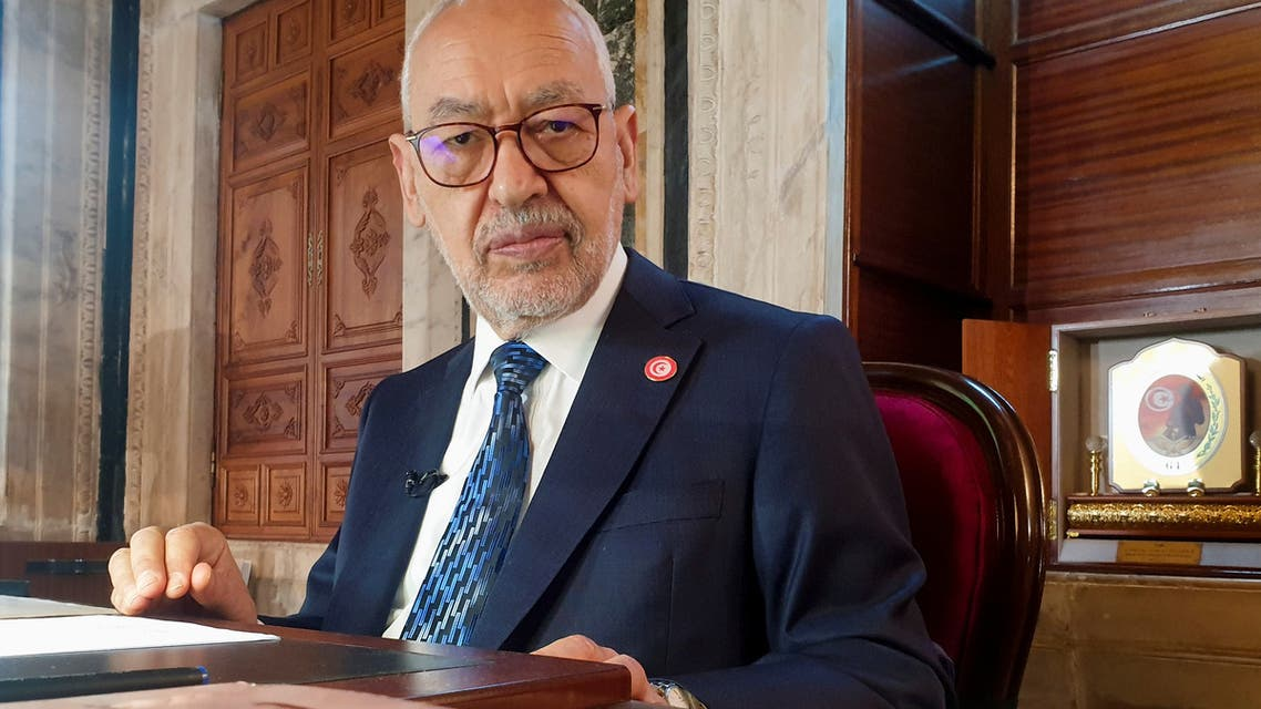 Parliament Speaker Rached Ghannouchi, head of the moderate Islamist Ennahda, poses during an interview with Reuters in his office, in Tunis, Tunisia, March 9, 2021. Picture taken March 9, 2021. REUTERS/Jihed Abidellaoui