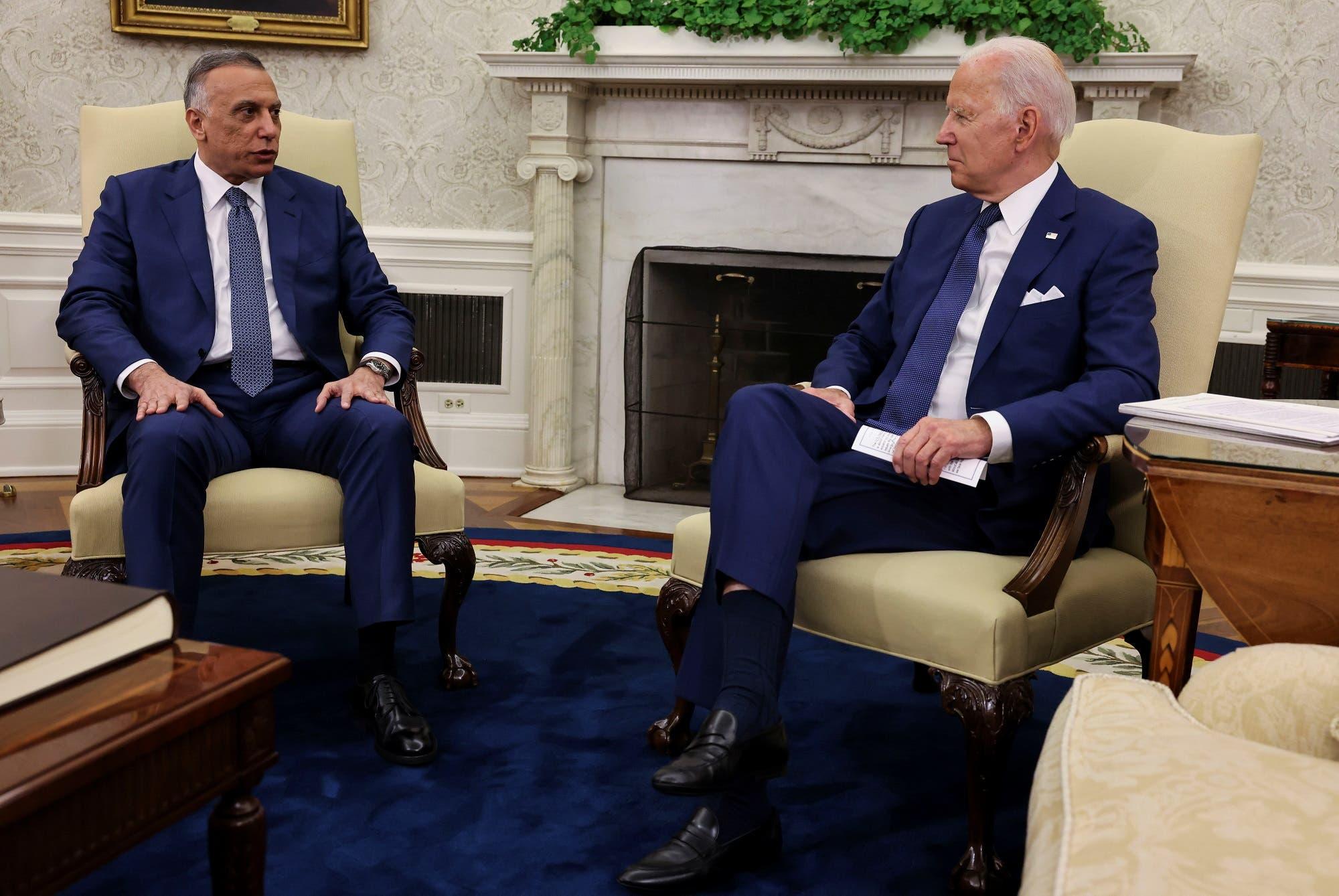 بايدن والكاظمي في البيت الأبيض يوم 26 يوليو 2021 (رويترز)