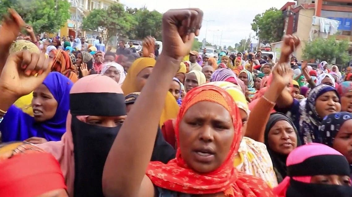 People demonstrate against alleged killings of civilians by militia members from neighbouring Afar region, in Jigjiga, Somali Region, Ethiopia July 28, 2021 in this still image taken from video. (Reuters)