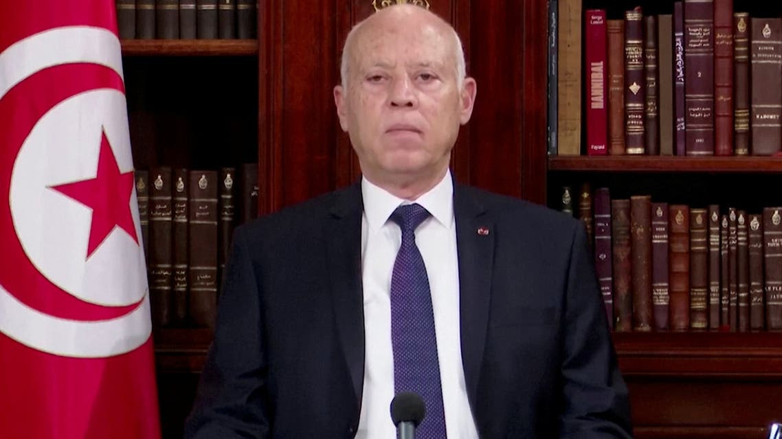 Tunisian President Kais Saied addresses the nation in this screengrab taken from Tunisian President's office footage, Tunisia July 25, 2021. (Reuters)