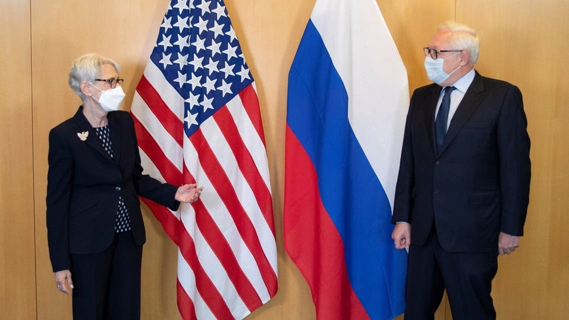 US Deputy Secretary of State Wendy Sherman (L) and Russian Deputy Foreign Minister Sergei Ryabkov before a meeting at the US diplomatic mission in Geneva, July 28, 2021. (Reuters)