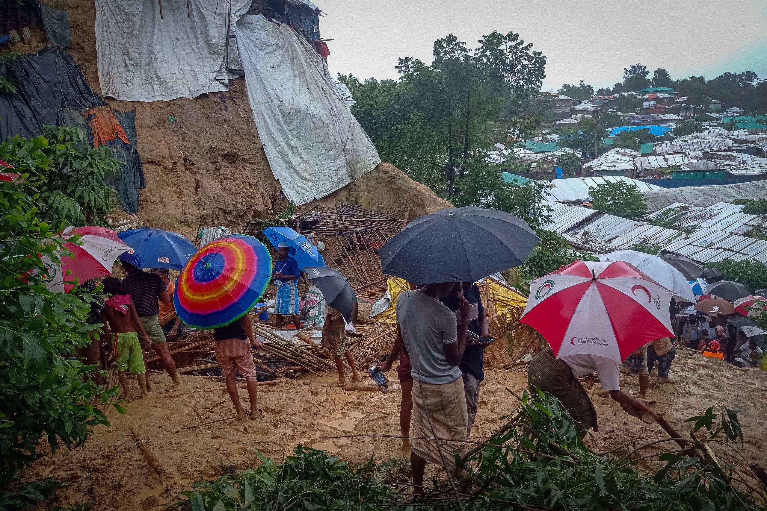 انزلاق تربة في مخيم للاجئين الروهينغا في بنغلادش