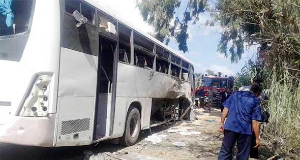 الحافلة التي تم استهدافها