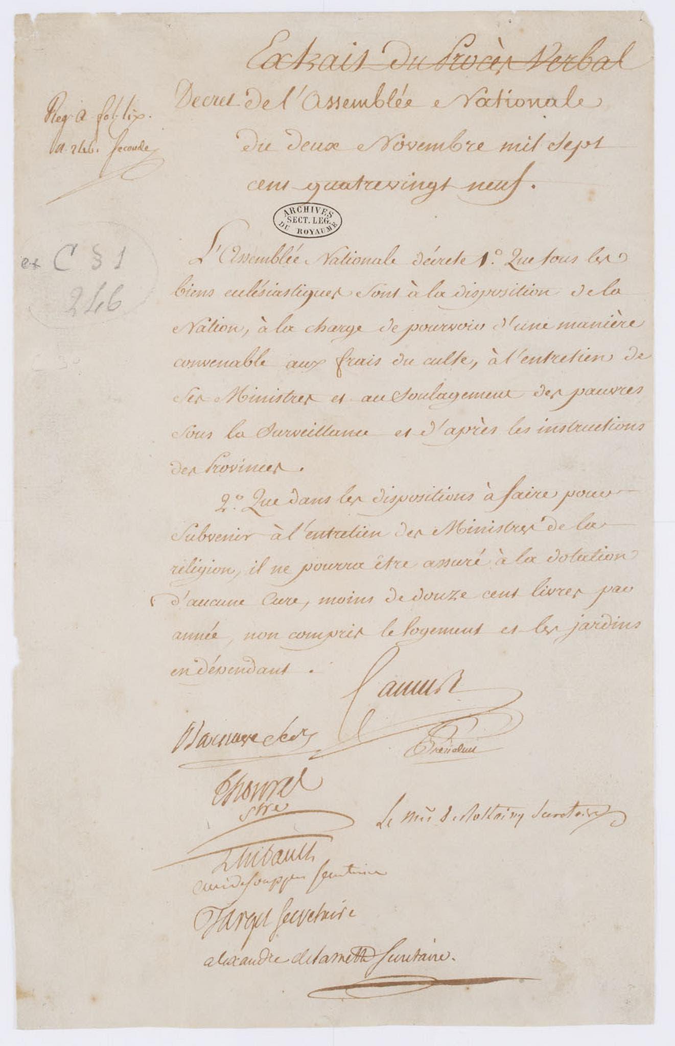 صورة لمرسوم قرار مصادرة أملاك الكنيسة