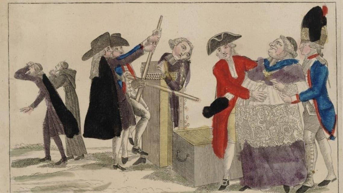صورة تعبيرية تجسد اقتياد أحد رجال الكنيسة لسحب ممتلكاته