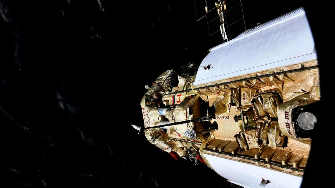The Nauka (Science) Multipurpose Laboratory Module is seen docked to the International Space Station (ISS) on July 29, 2021. Oleg Novitskiy/Roscosmos/Handout via REUTERS ATTENTION EDITORS - THIS IMAGE HAS BEEN SUPPLIED BY A THIRD PARTY. MANDATORY CREDIT.