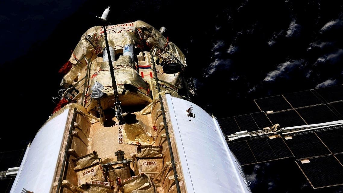 The Nauka (Science) Multipurpose Laboratory Module is seen docked to the International Space Station (ISS) on July 29, 2021. (Reuters)