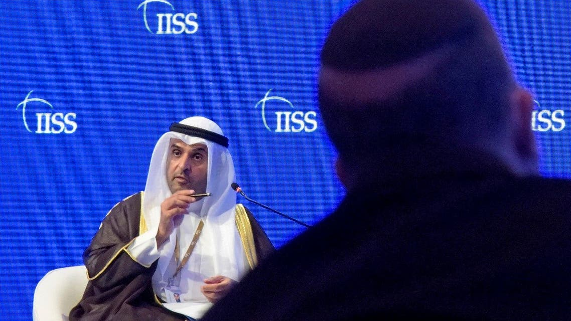 Nayef al-Hajraf, secretary-general of the Gulf Cooperation Council (GCC), addresses the Manama Dialogue security conference in Bahrain's capital on December 6, 2020 as Dore Gold, President of the Israeli based Jerusalem Center for Public Affairs, watches. (AFP)