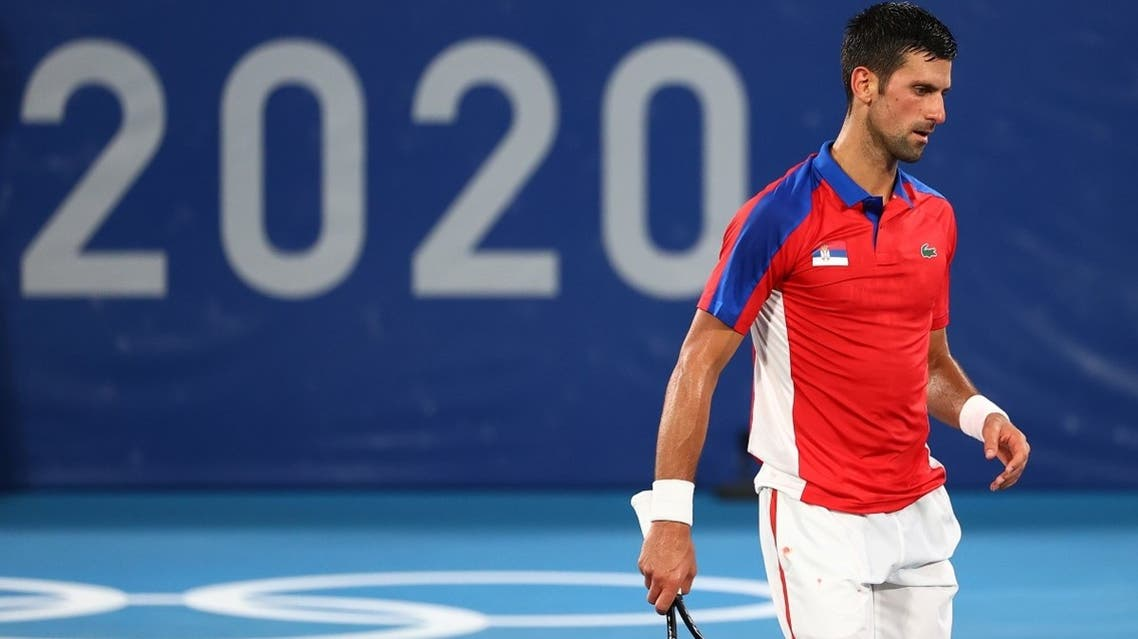 Novak Djokovic of Serbia reacts during his semifinal singles match against Alexander Zverev of Germany  at the Tokyo Olympics on July 30, 2021. (Reuters)