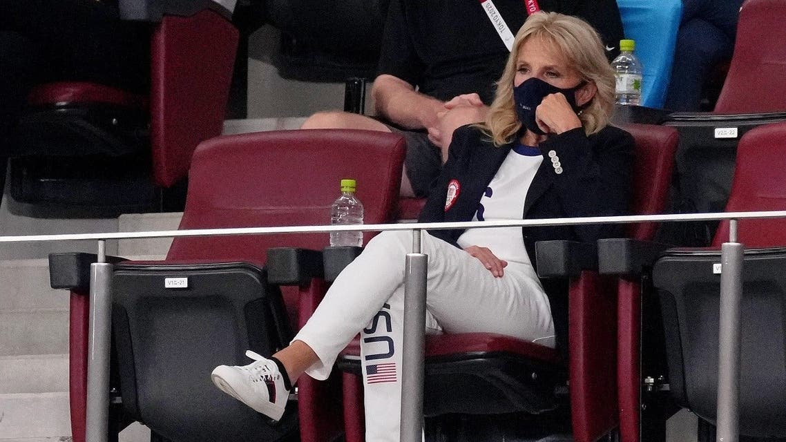 First lady Jill Biden watches the game between the United States of America and New Zealand during the second half in group G play during the Tokyo 2020 Olympic Summer Games at Saitama Stadium. (Jack Gruber USA TODAY Network via Reuters)