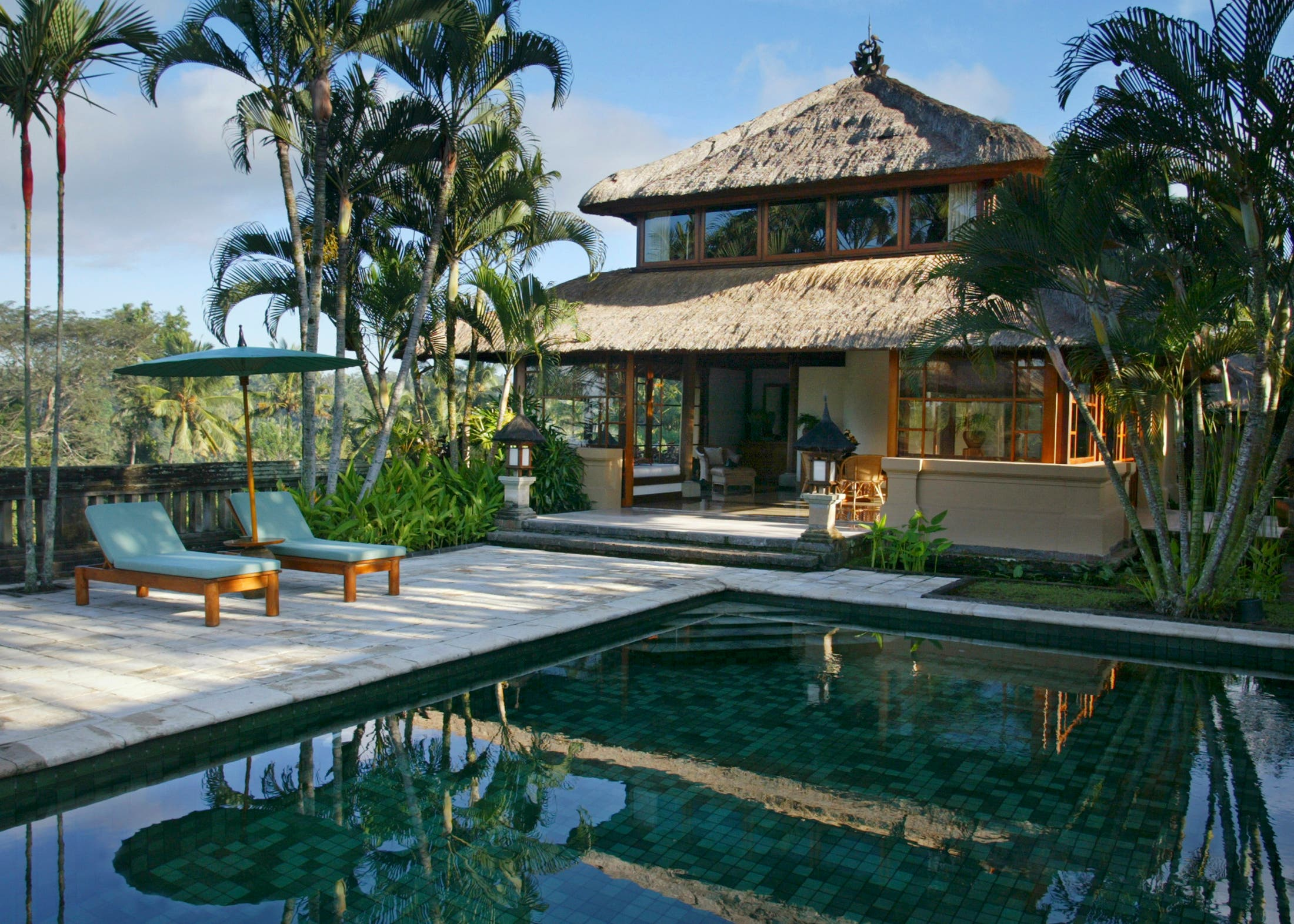 The Asmara Suite at the elegant Amandari Hotel in Ubud features a private pool, views of nearby rice terraces. (Reuters)