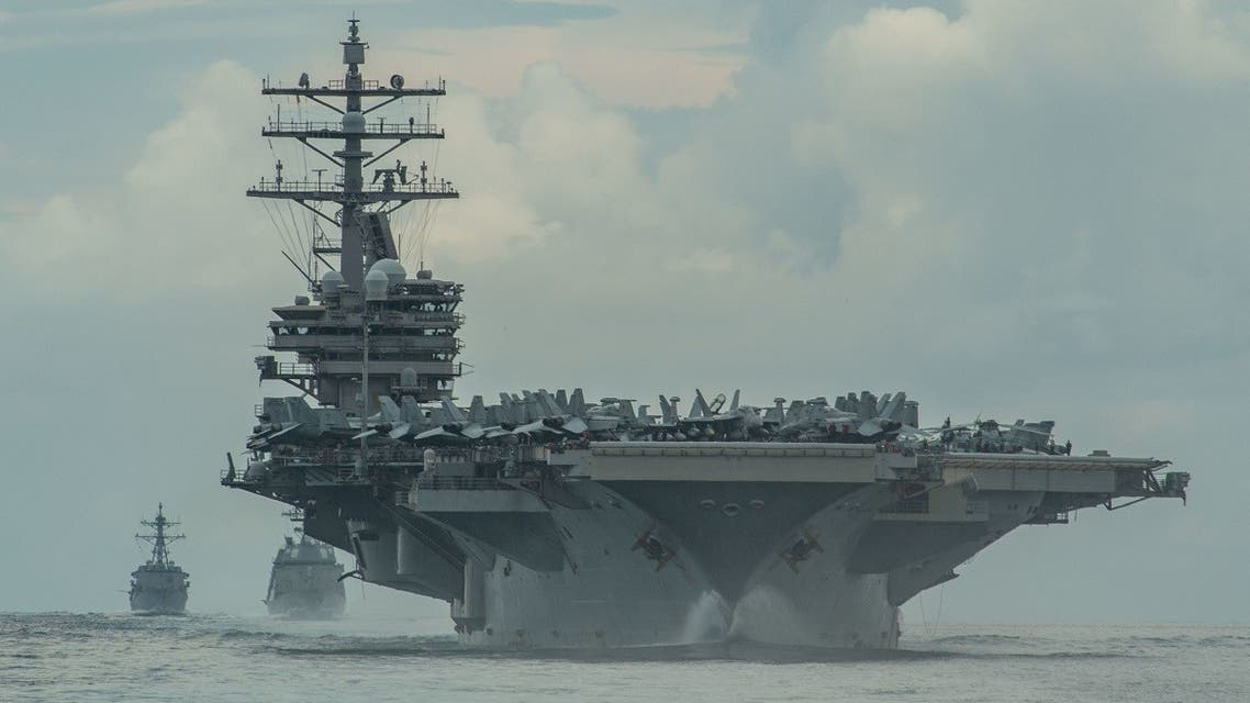 The USS Ronald Reagan in formation in the Philippine Sea, July 19, 2020. (Reuters)