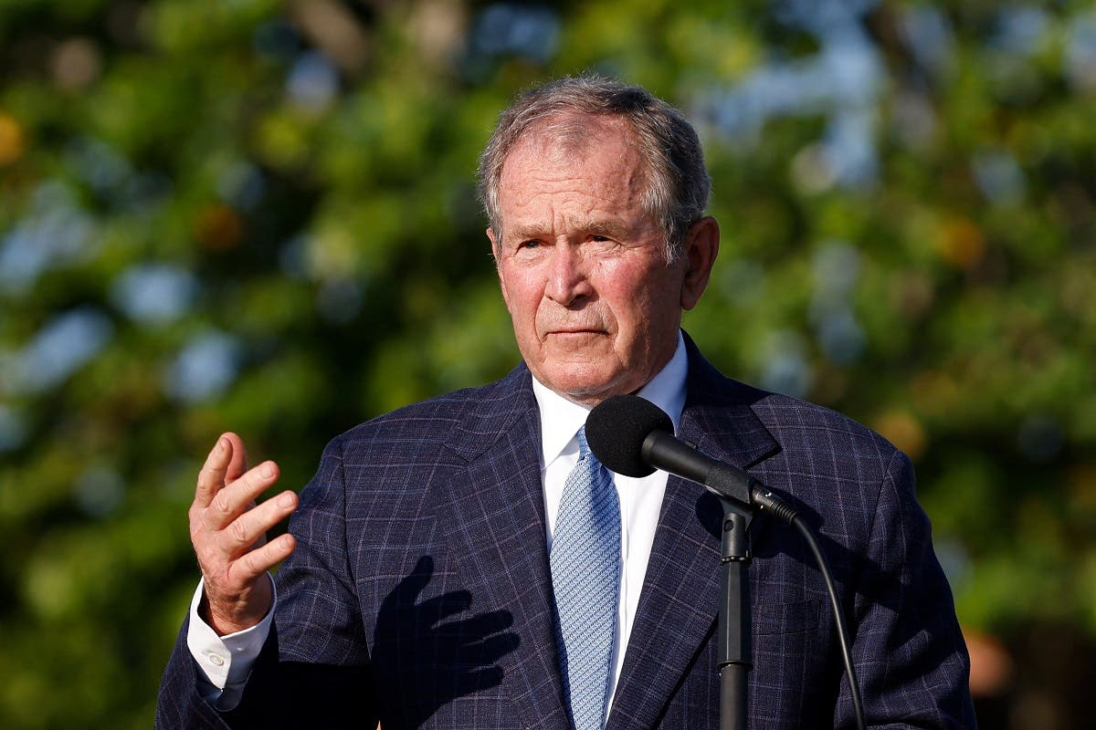 Former US President George W. Bush speaks during the flag raising ceremony prior to The Walker Cup at Seminole Golf Club on May 07, 2021 in Juno Beach, Florida. (AFP)