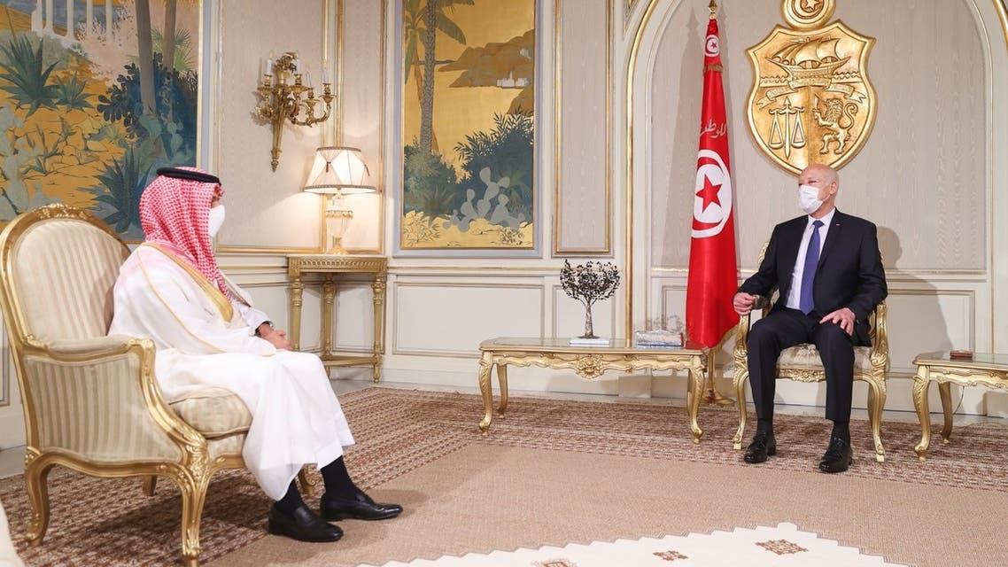 لقاء سابق بين قيس سعيد والأمير فيصل بن فرحان تونس السعودية