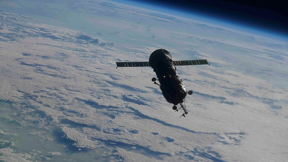The Progress MS-16 cargo spacecraft with the Pirs Docking Compartment after undocking July 26, 2021. (Reuters)