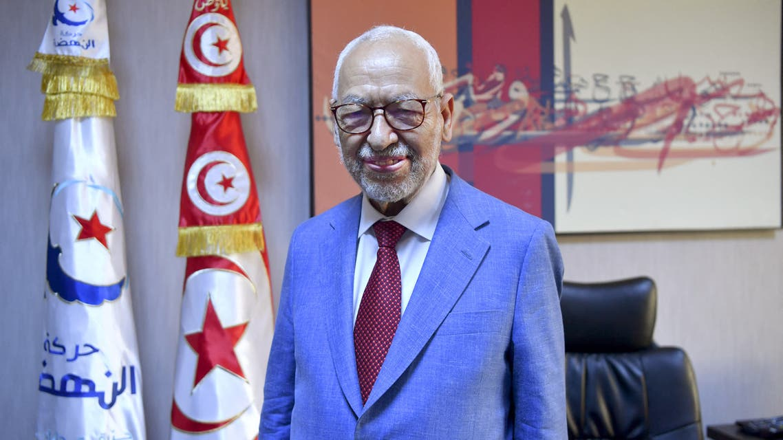Tunisia's parliament speaker and and Ennahdha party leader Rached Ghannouchi looks on during an interview with AFP at his office in the capital Tunis on July 29, 2021. Rached Ghannouchi, historic leader of Ennahdha that says it is the victim of a coup d'état in Tunisia, embodies the shifting sands of his Islamist-inspired party over the past decade. As a result, he is now struggling to mobilise a divided leadership and weary supporters.
