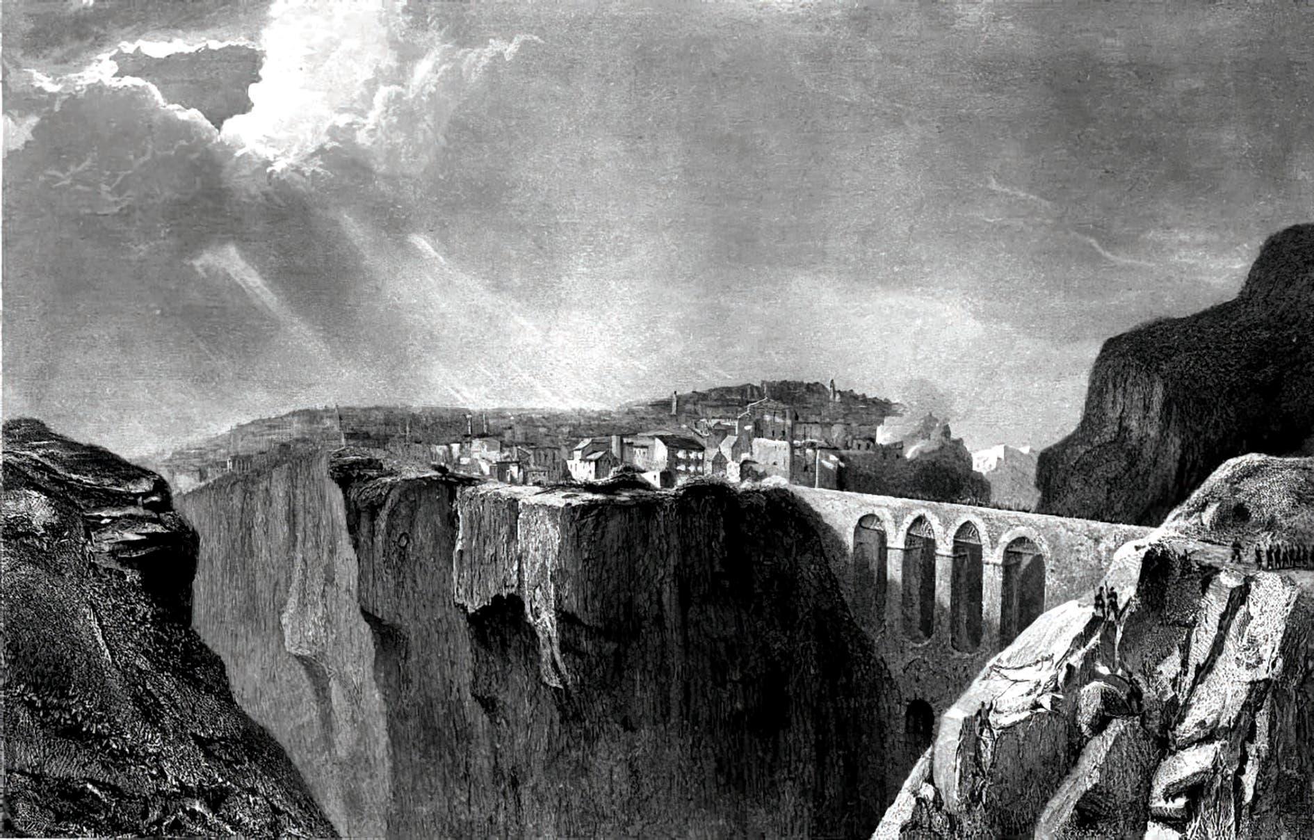 منظر لمدينة قسنطينة، رسم طباعي (حفر) عام 1836م، من موقع: قسنطينة أمس واليوم