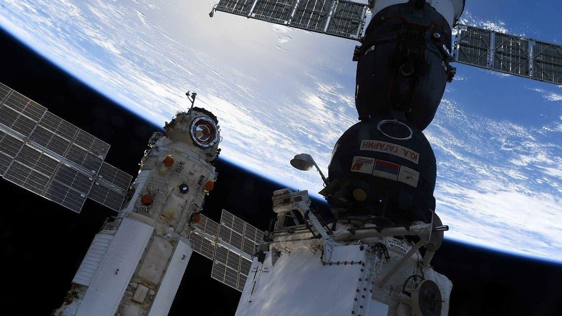 The Nauka (Science) Multipurpose Laboratory Module is seen docked to the International Space Station (ISS) next to next to Soyuz MS-18 spacecraft on July 29, 2021. (Oleg Novitskiy/Roscosmos/Handout via Reuters)