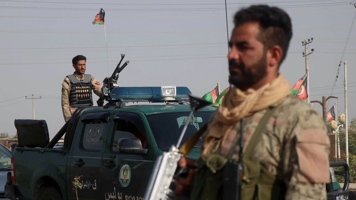 Afghan security forces keep watch at a checkpoint in the Guzara district of Herat province, Afghanistan. (Reuters)