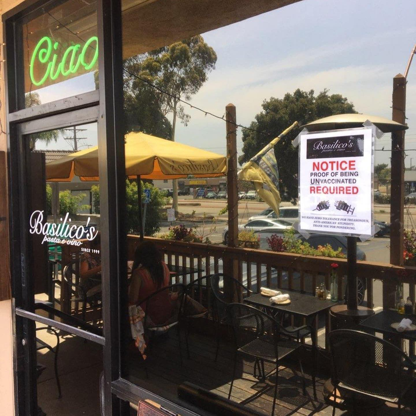 California restaurant owner requires diners show 'proof of being unvaccinated'