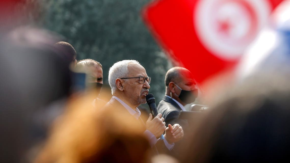 FILE PHOTO: Parliament Speaker Rached Ghannouchi, head of the moderate Islamist Ennahda, speaks to supporters during a rally in opposition to President Kais Saied, in Tunis, Tunisia February 27, 2021. REUTERS/Zoubeir Souissi/File Photo