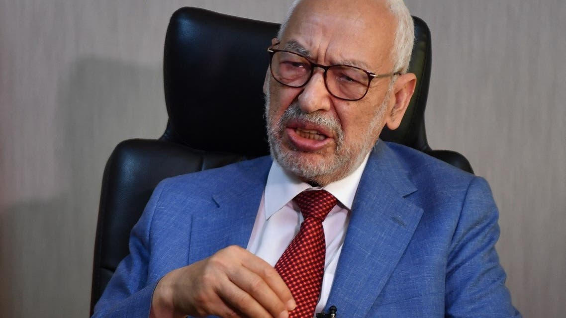 Tunisia's parliament speaker and and Ennahdha party leader Rached Ghannouchi gives an interview with AFP at his office in the capital Tunis on July 29, 2021. (AFP)