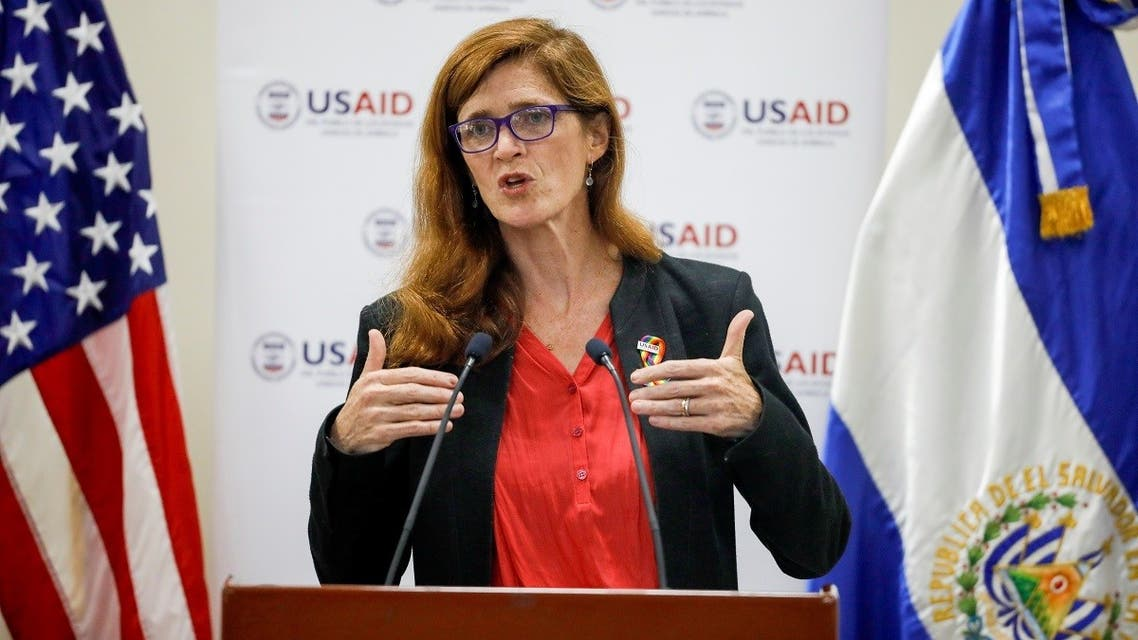 A file photo shows Samantha Power, administrator of the United States Agency for International Development, delivers a speech during a visit to El Salvador at the Central American University in San Salvador, El Salvador June 14, 2021. (Reuters/Jose Cabezas)