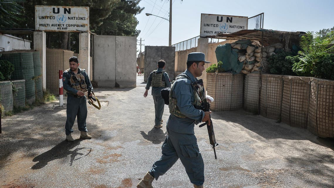 Security personnel stands guard outside United Nations Assistance Mission in Afghanistan (UNAMA) office compound in Guzara district of Herat province on July 31, 2021. (AFP)