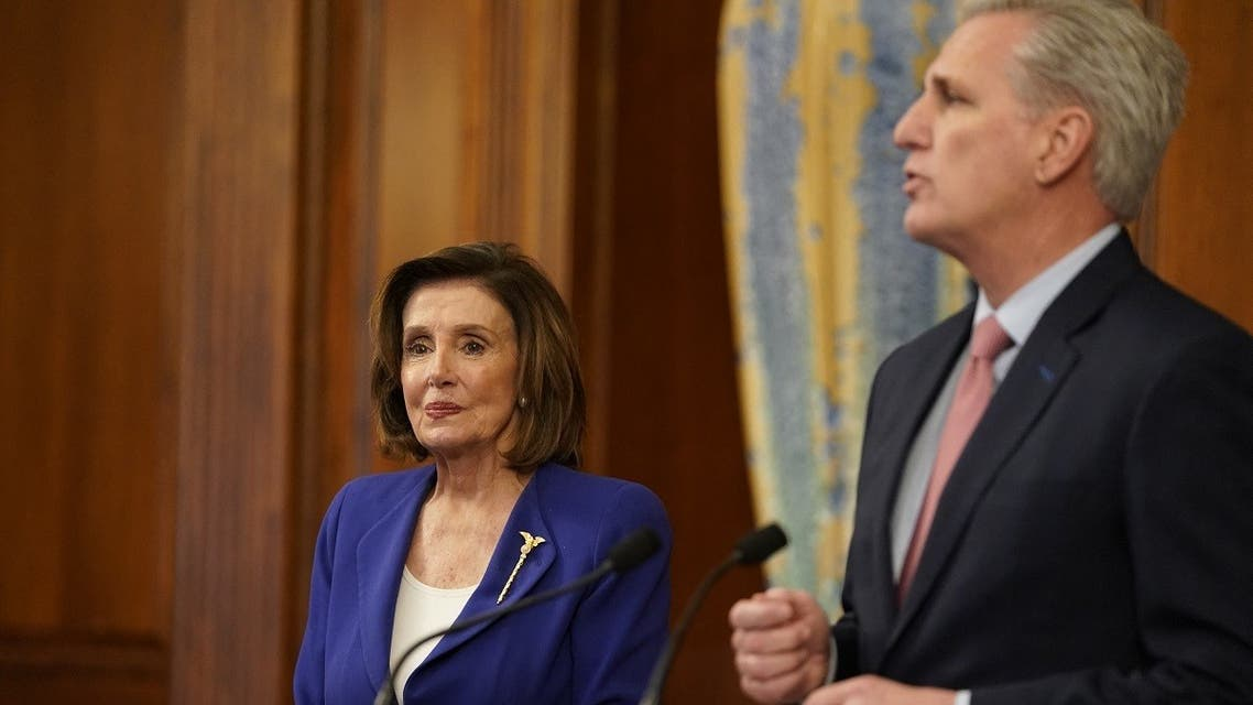 A file photo shows US speaker of the House Nancy Pelosi (L)D-CA and US Representative Kevin McCarthy(R-CA) at the US Capitol in Washington, DC, March 27, 2020. (Alex Edelman/AFP)