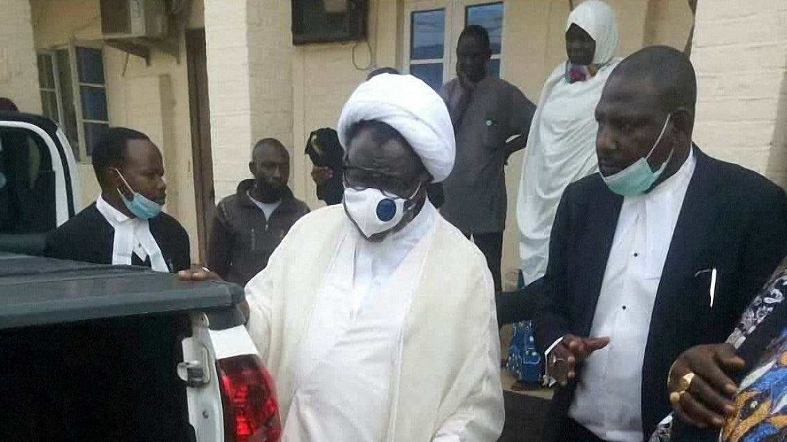 Shia cleric Ibrahim Zakzaky is seen in Kano on July 28, 2021 upon his release. (AFP)