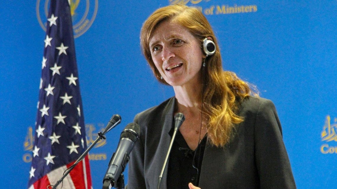 USAID chief Samantha Power speaks during a press conference at Sudan's Council of Ministers in the capital Khartoum, on August 1, 2021. (Ebrahim Hamid/AFP)