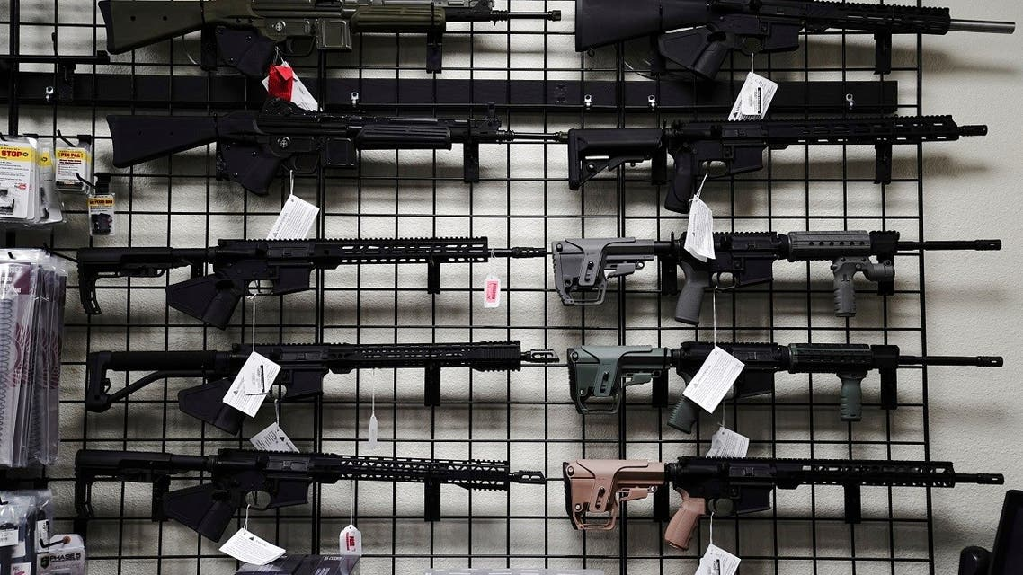 AR-15 style rifles are displayed for sale at Firearms Unknown, a gun store in Oceanside, California, April 12, 2021. (Reuters)