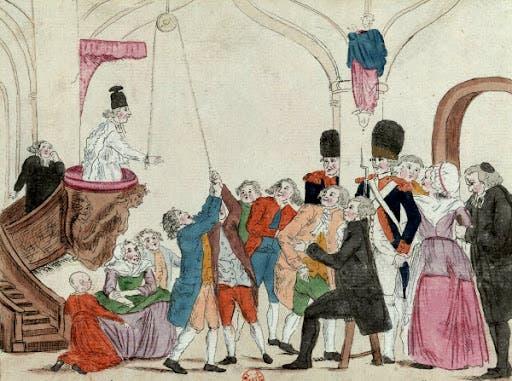 رسم تخيلي ساخر يجسد عملية اجبار رجال الدين على تأدية القسم
