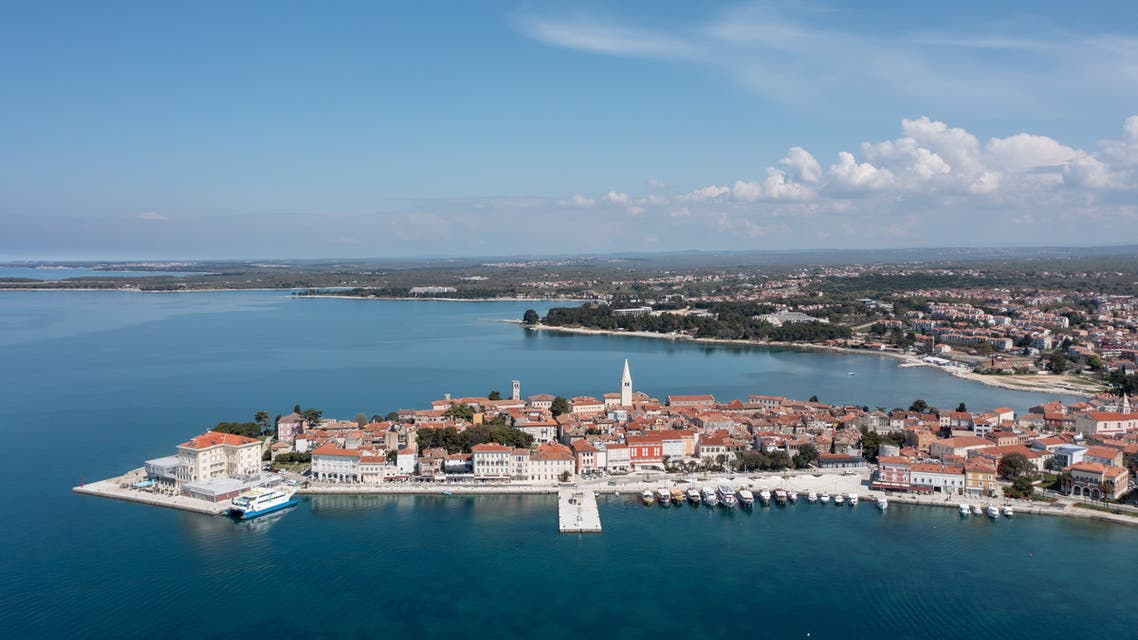 General view of Porec, Croatia, April 20, 2021. Picture is taken with drone on April 20, 2021. (Reuters)