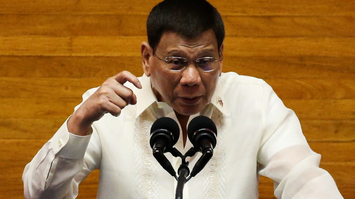 Philippine President Rodrigo Duterte gestures as he delivers his 6th State of the Nation Address (SONA), at the House of Representative in Quezon City, Metro Manila, Philippines, July 26, 2021. (Reuters)